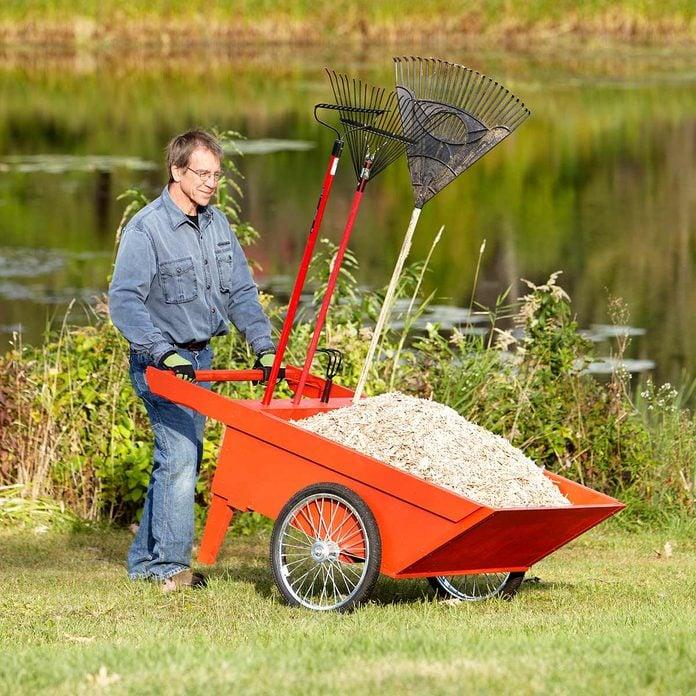 big red garden cart