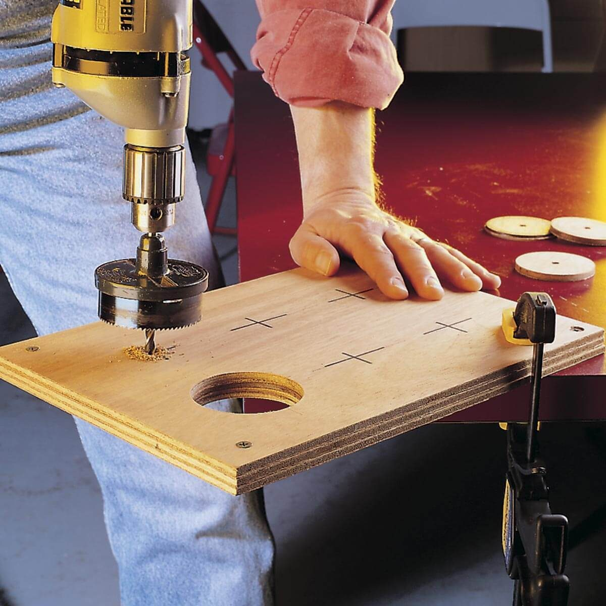 Cutting holes in plywood
