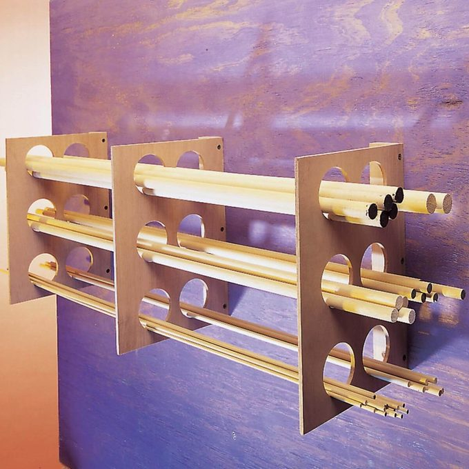 plywood rack for storing dowels