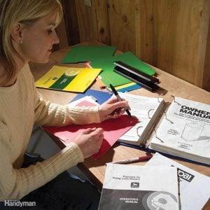 storing manuals in binder