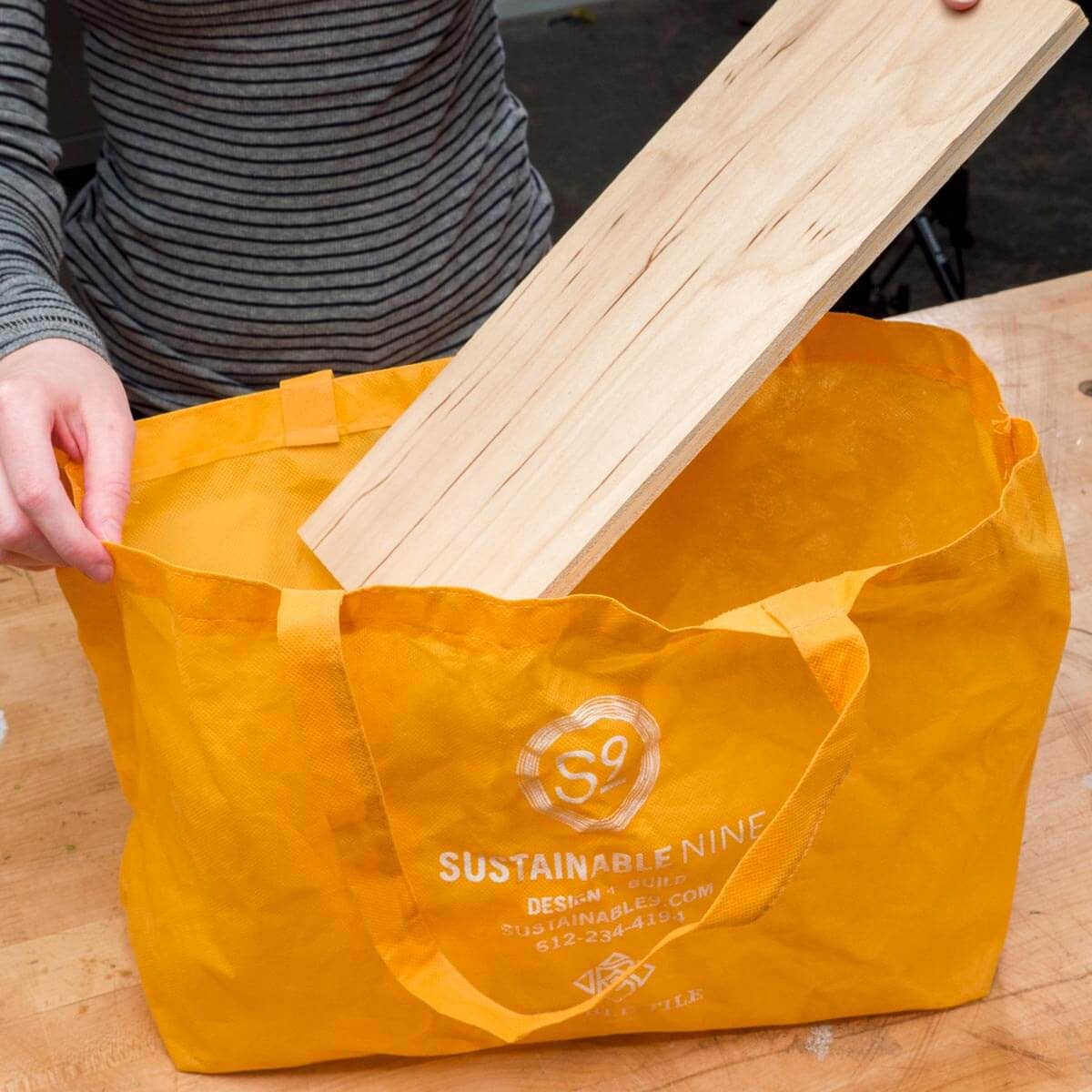 HH reusable grocery bag plywood base