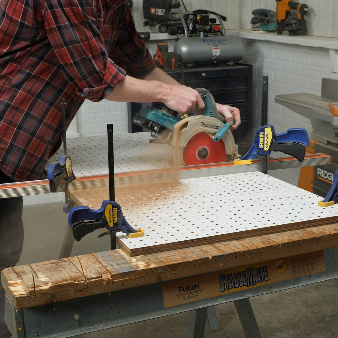 Cut Pegboard with circular saw