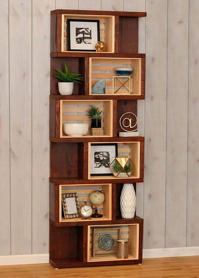 crates and pallet vertical bookcase