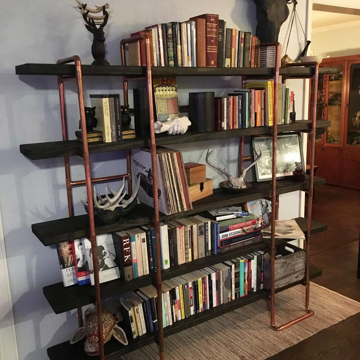 copper pipe bookshelf