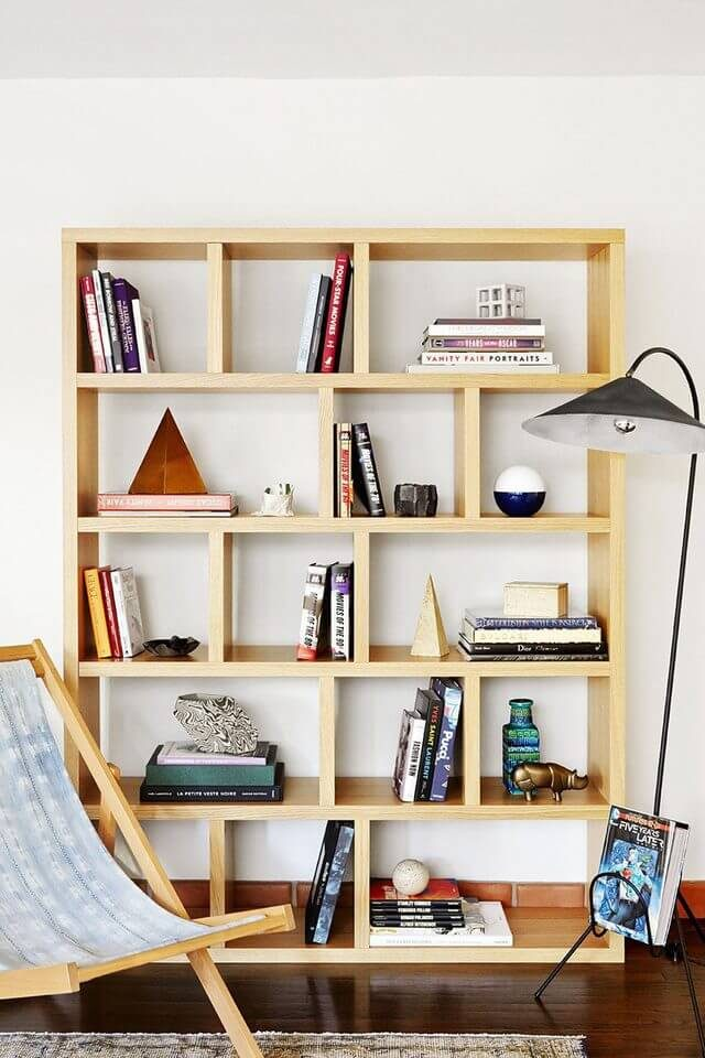 light wood square bookcase