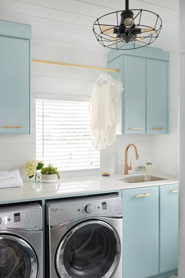 laundry room organization ideas blue cabinets