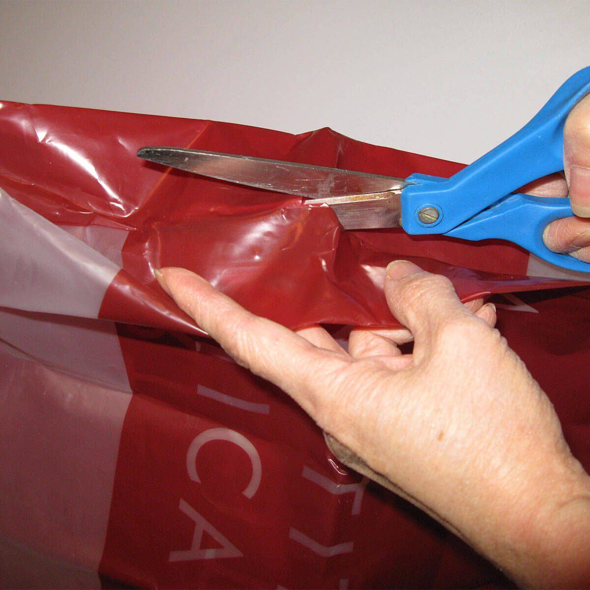 cutting plastic bag