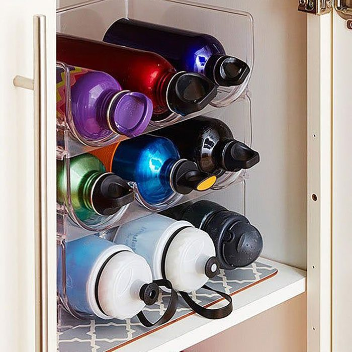 Use a wine rack for water bottles