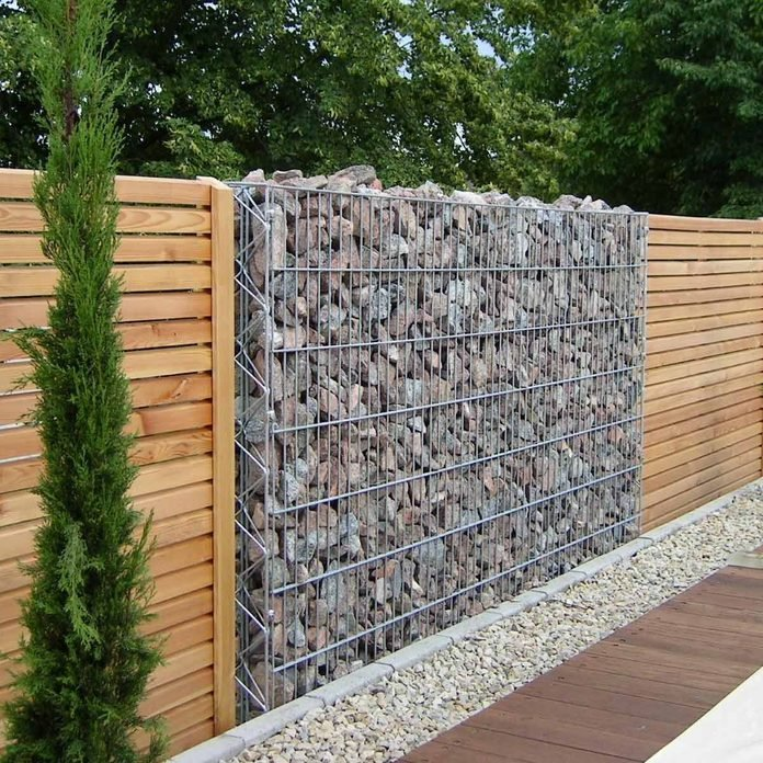 Gabion Wall Stone and Wood Fence