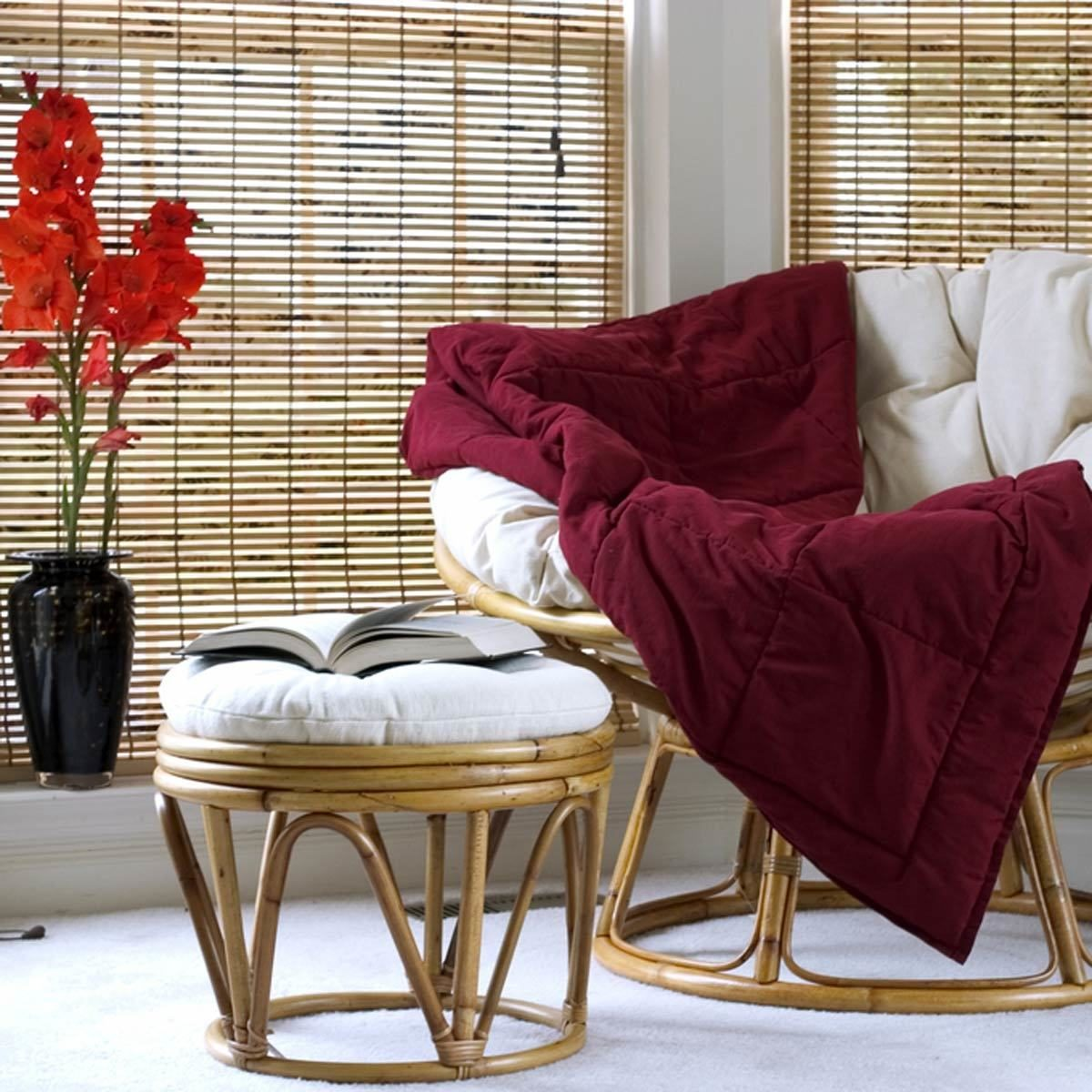 Papasan chair w cushion stool bamboo blinds