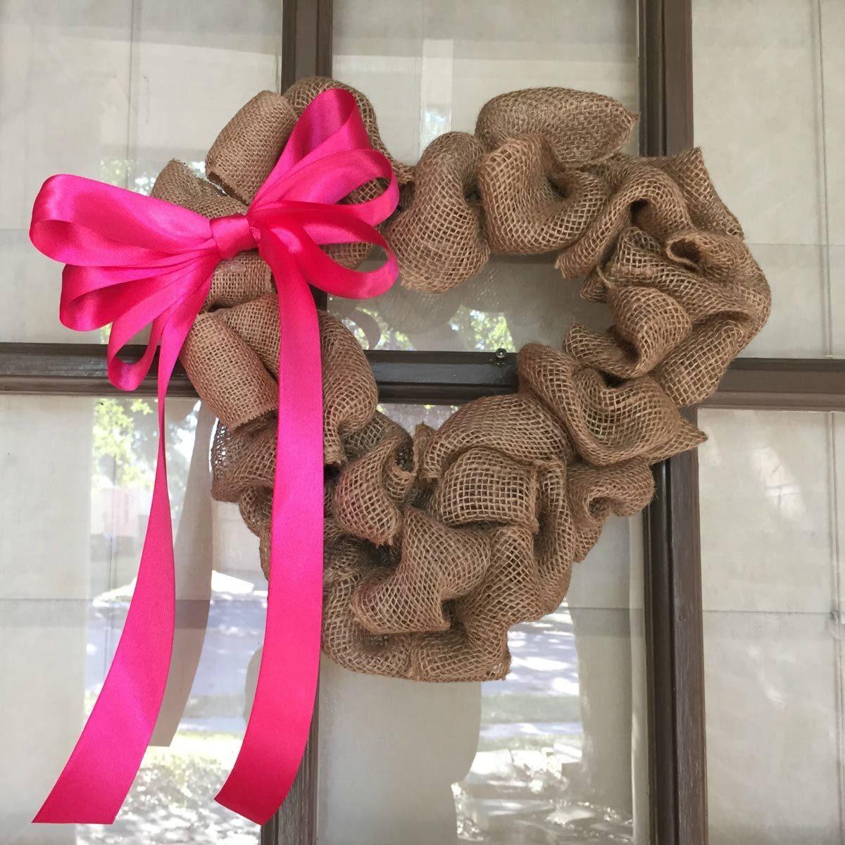 heart burlap wreath