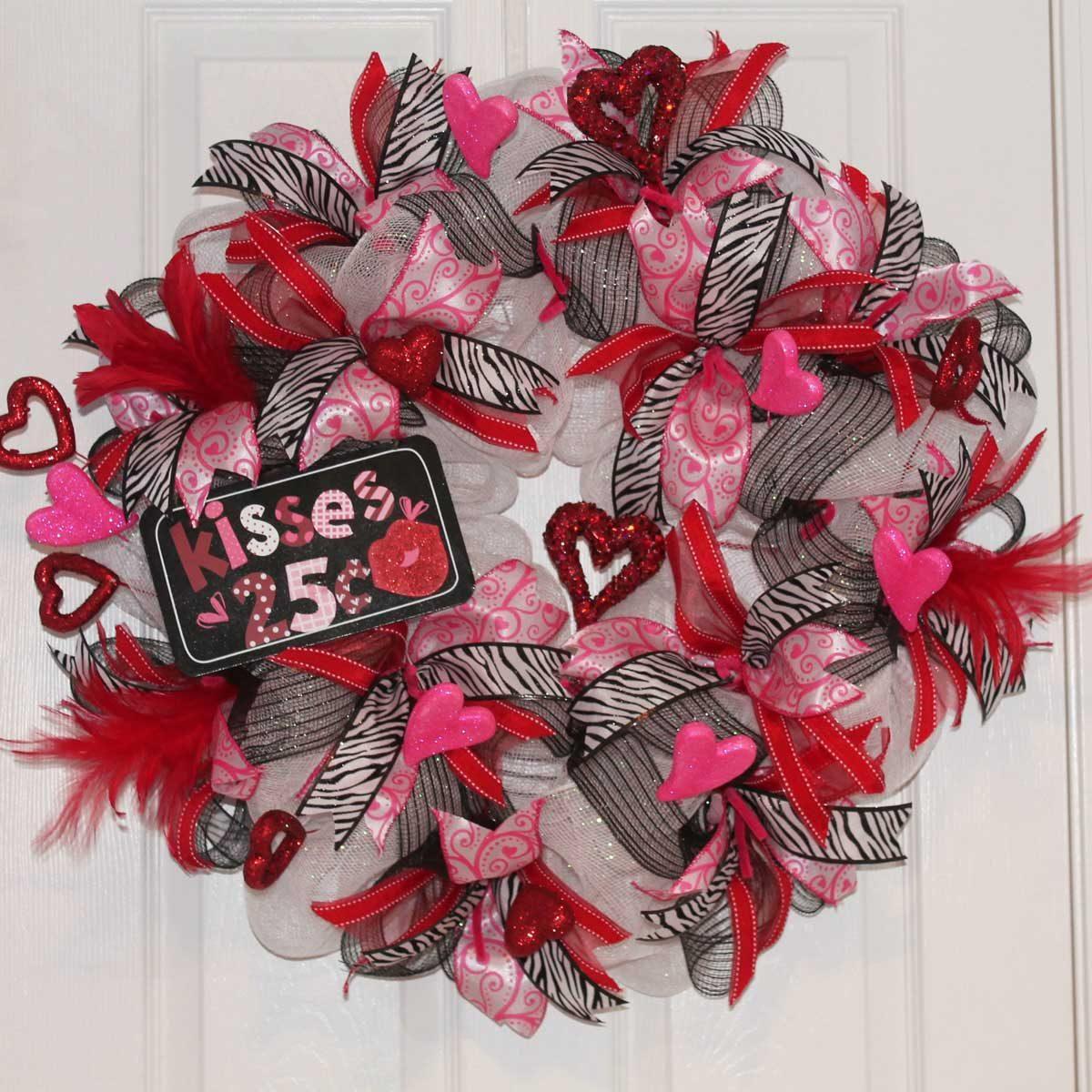mesh valentine wreath