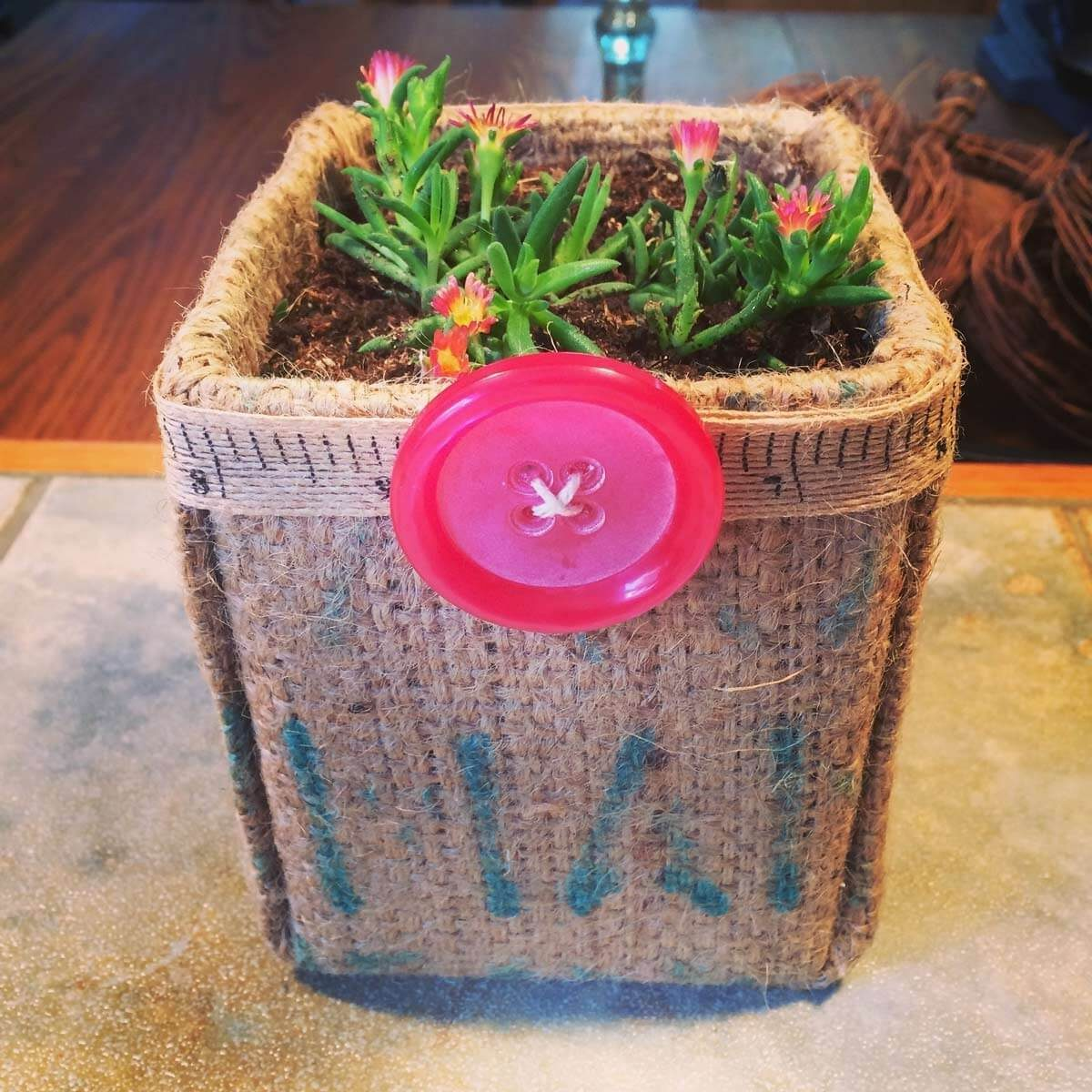 milk carton burlap planter