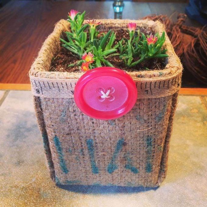 milk carton burlap planter