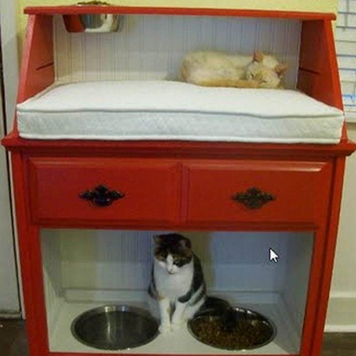 pet station created from vintage secretary desk