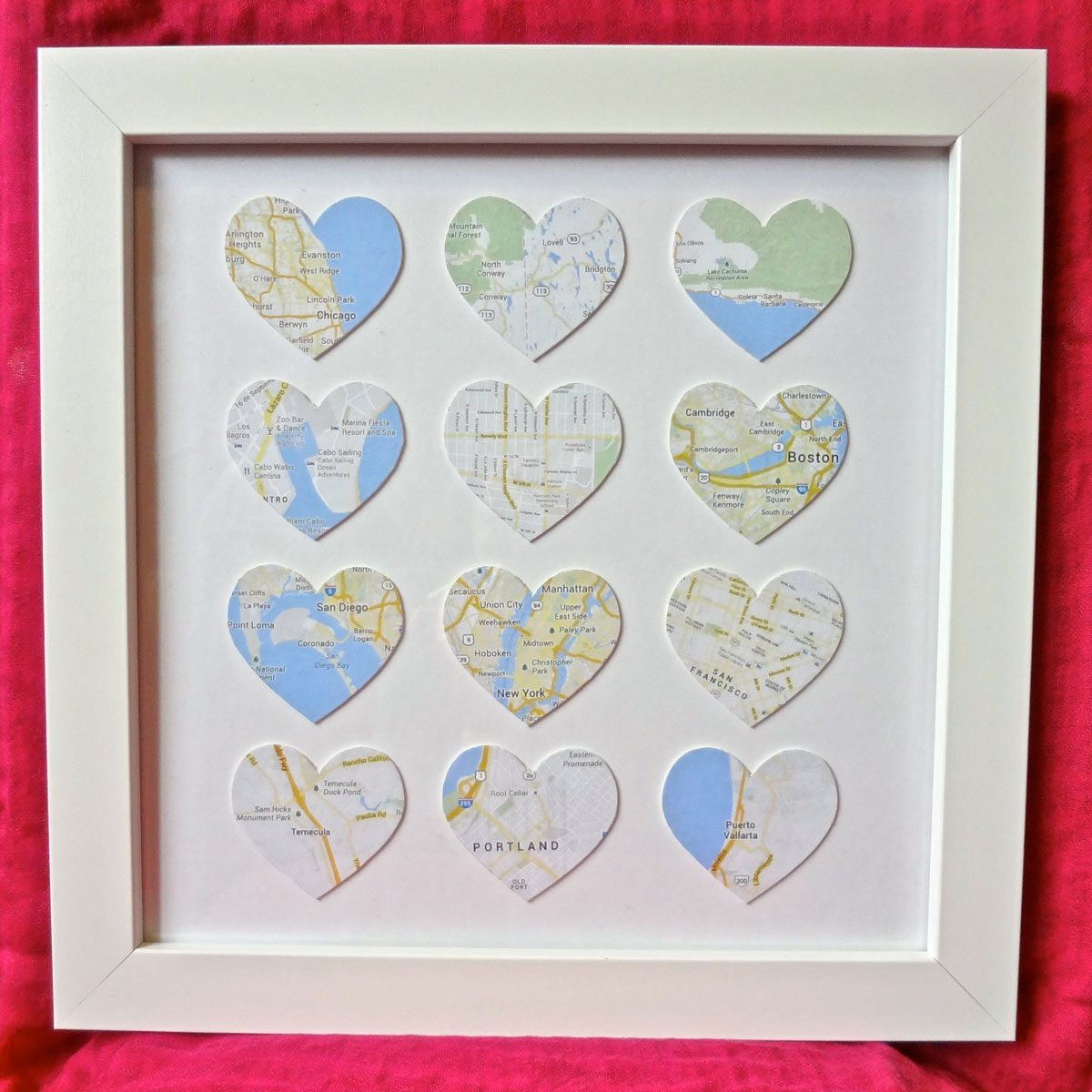places-we've-been heart shaped map art