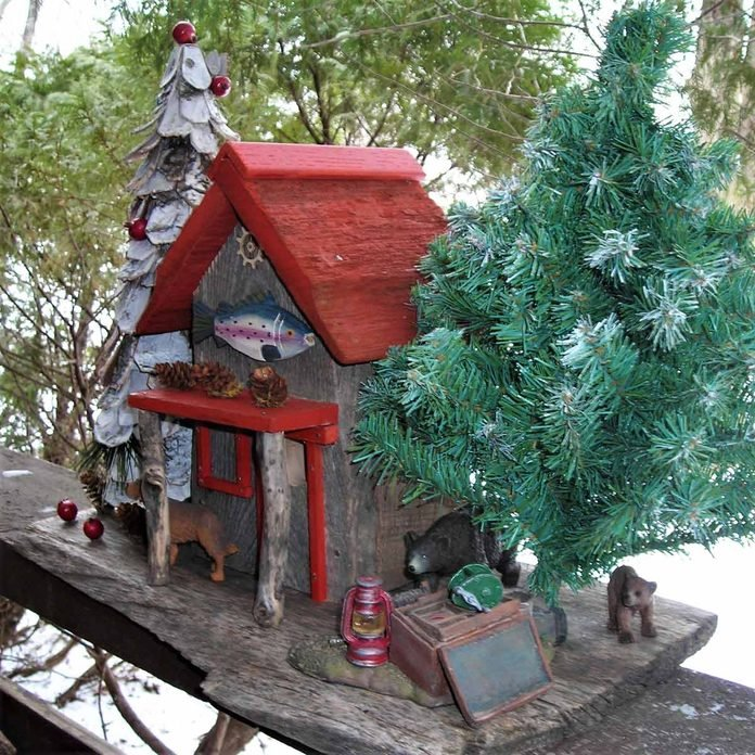 rustic cabin birdhouses