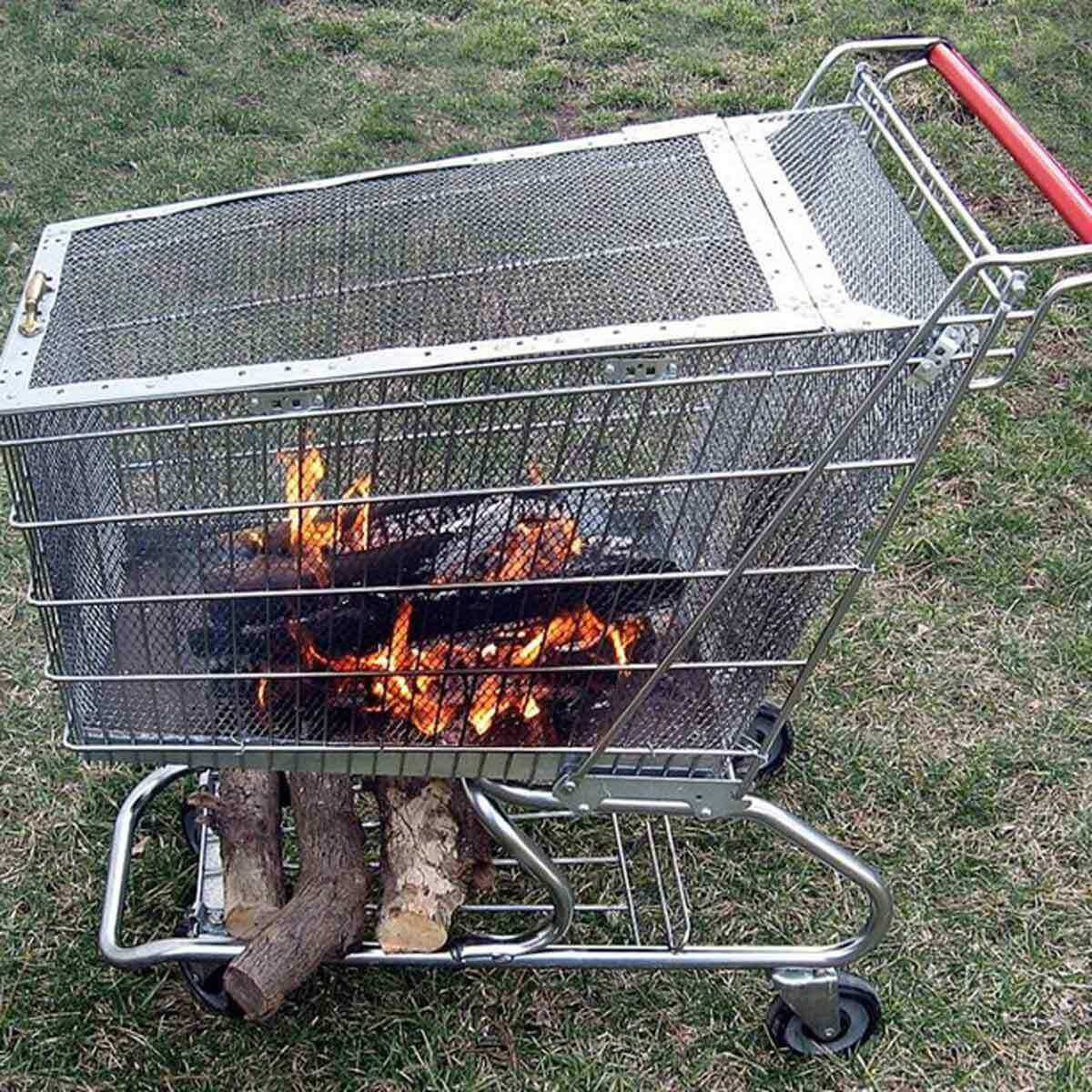 Shopping Cart Fire Pit on wheels
