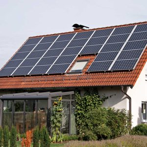 solar panels on home roof