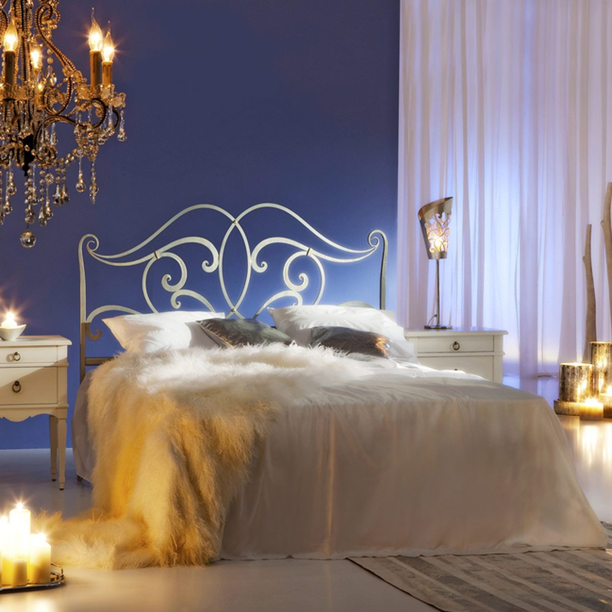 romantic bedroom candles chandelier