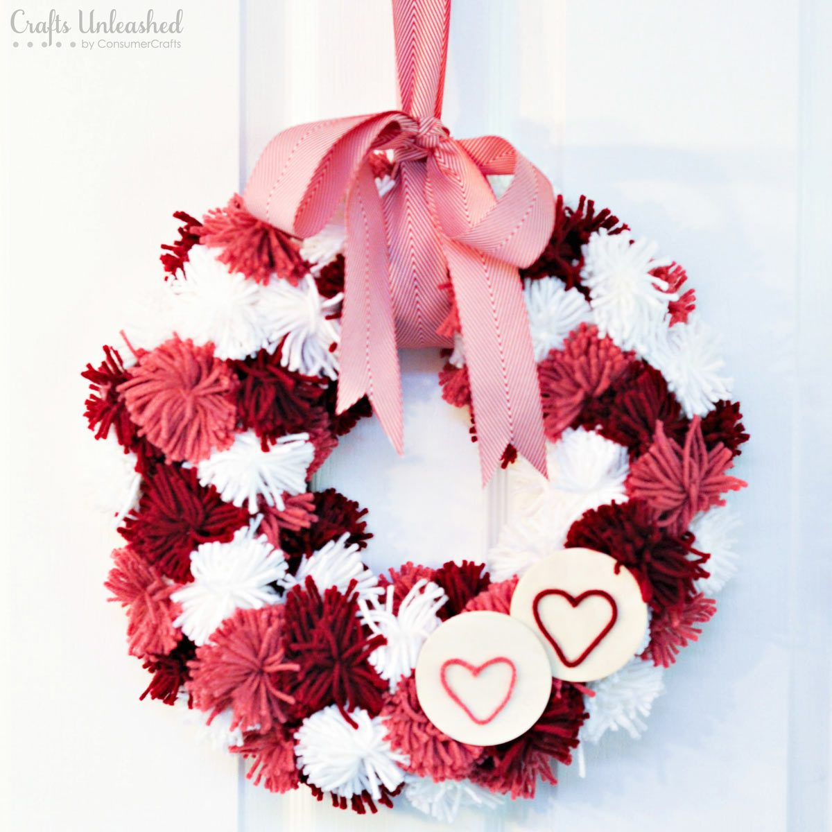 yarn pompom valentines wreaths