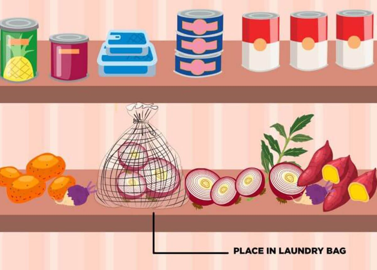 pantry organization onions in mesh laundry bags