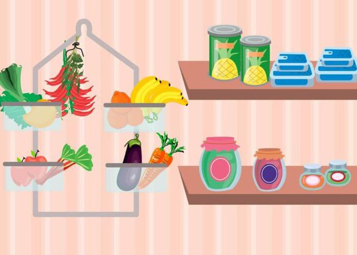 Use a shower organizer to store produce pantry organization