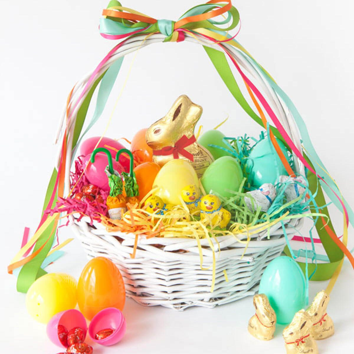 40 fabulous diy easter baskets the family handyman rainbow basket negle Choice Image