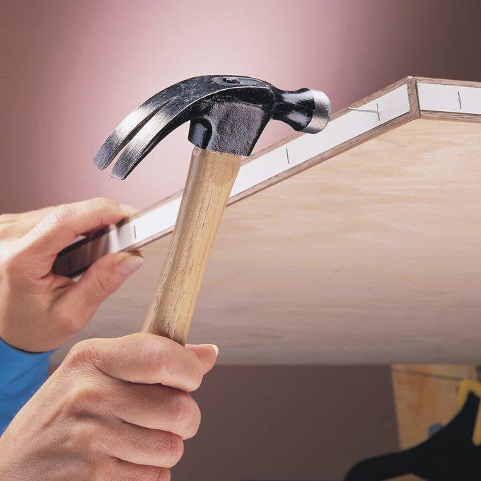 masking tape for hammering brad nails