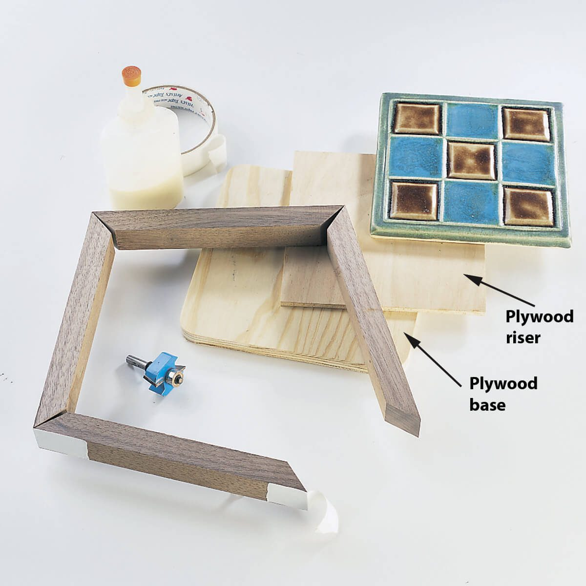 gluing tile in trivet