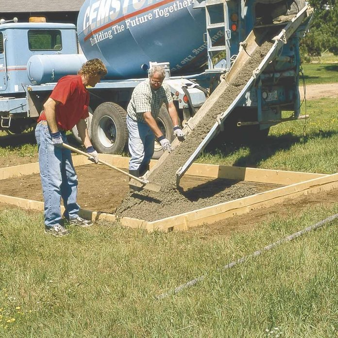 drier concrete mix is better, shed foundation