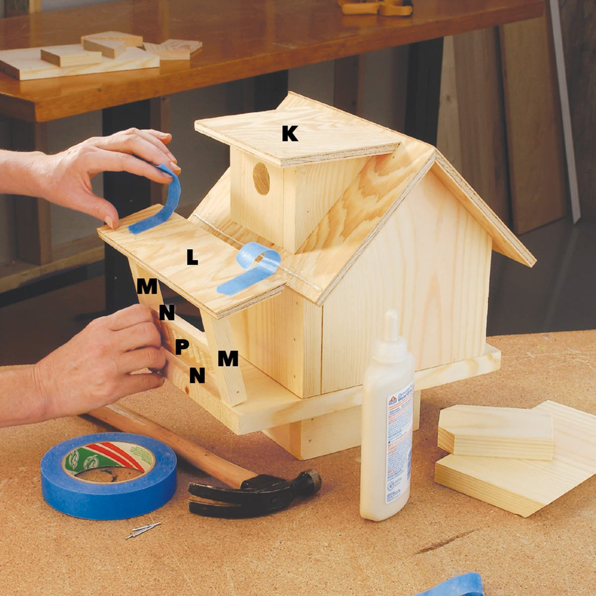 glue and nail the railing birdhouse