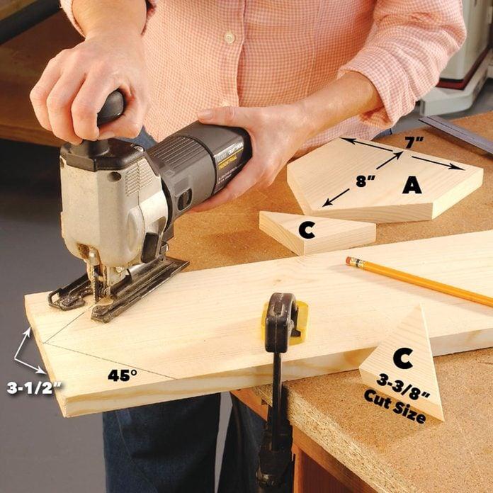 cut out the birdhouse pieces