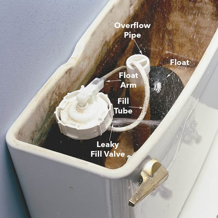 Toilet Troubleshooting: Check the Fill Valve for a Leak diagram