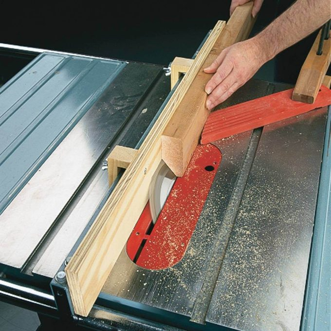 risky use of auxiliary fence on table saw