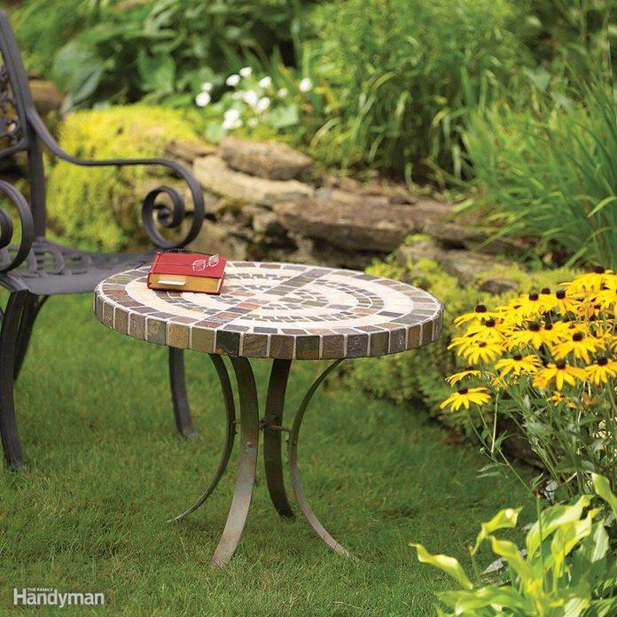 patio tile side table