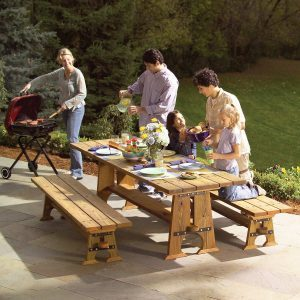 Rock-Solid Outdoor Picnic Table and Benches