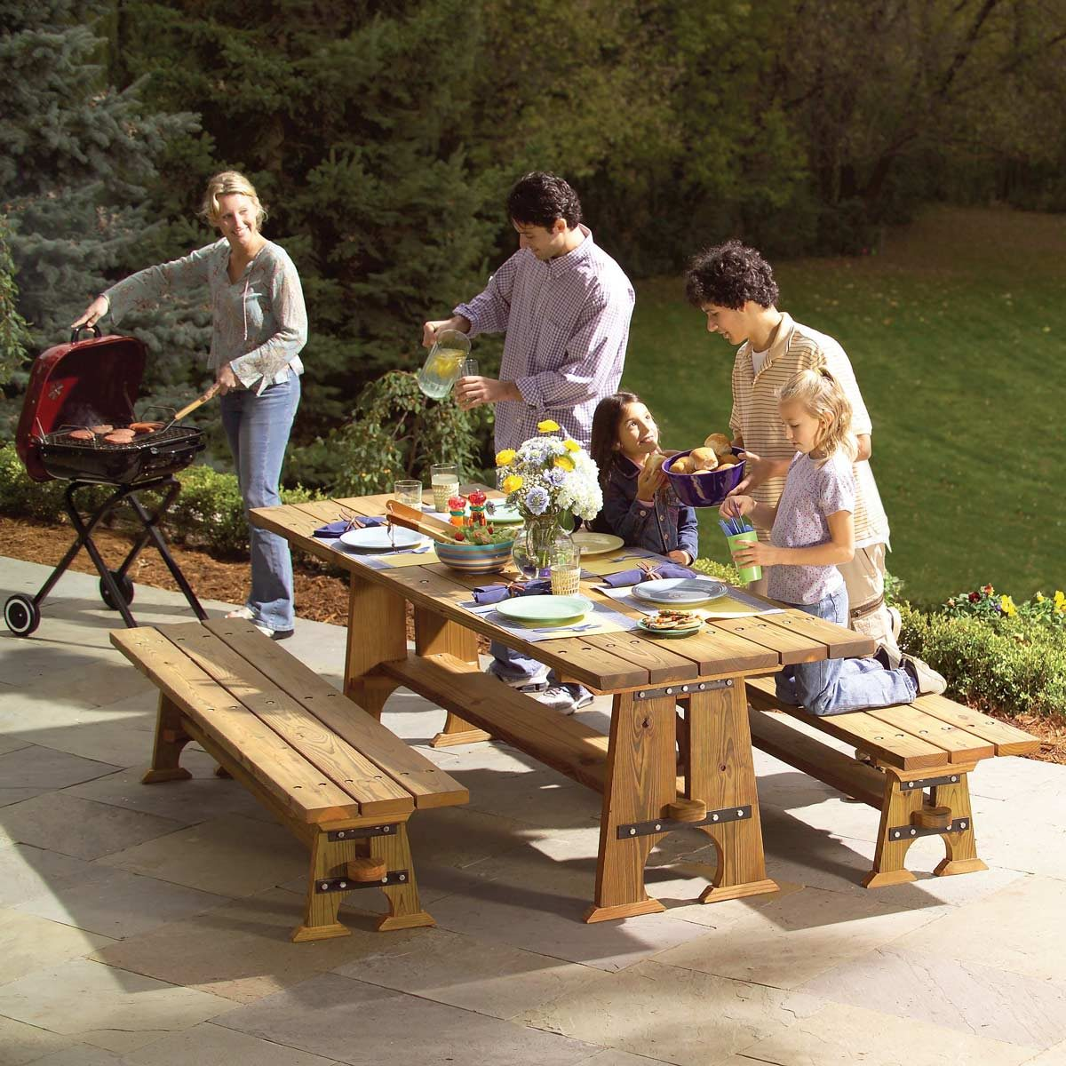 RockSolid Outdoor Picnic Table And Benches Family Handyman The - Treated lumber picnic table