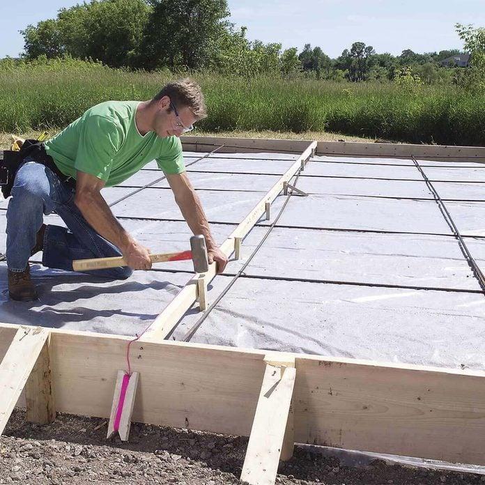 rebar grid for pouring concrete slab