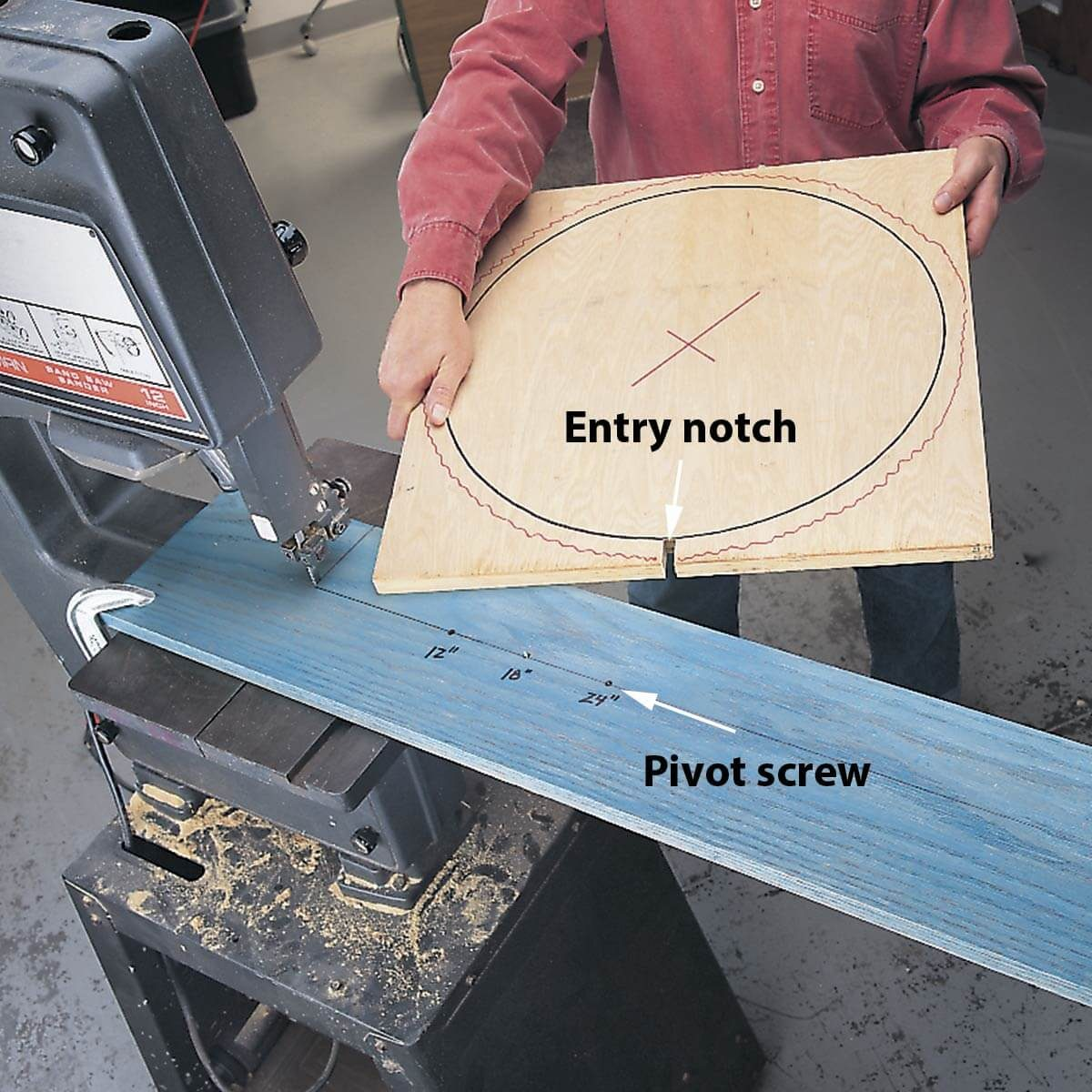 how to cut circles on a band saw