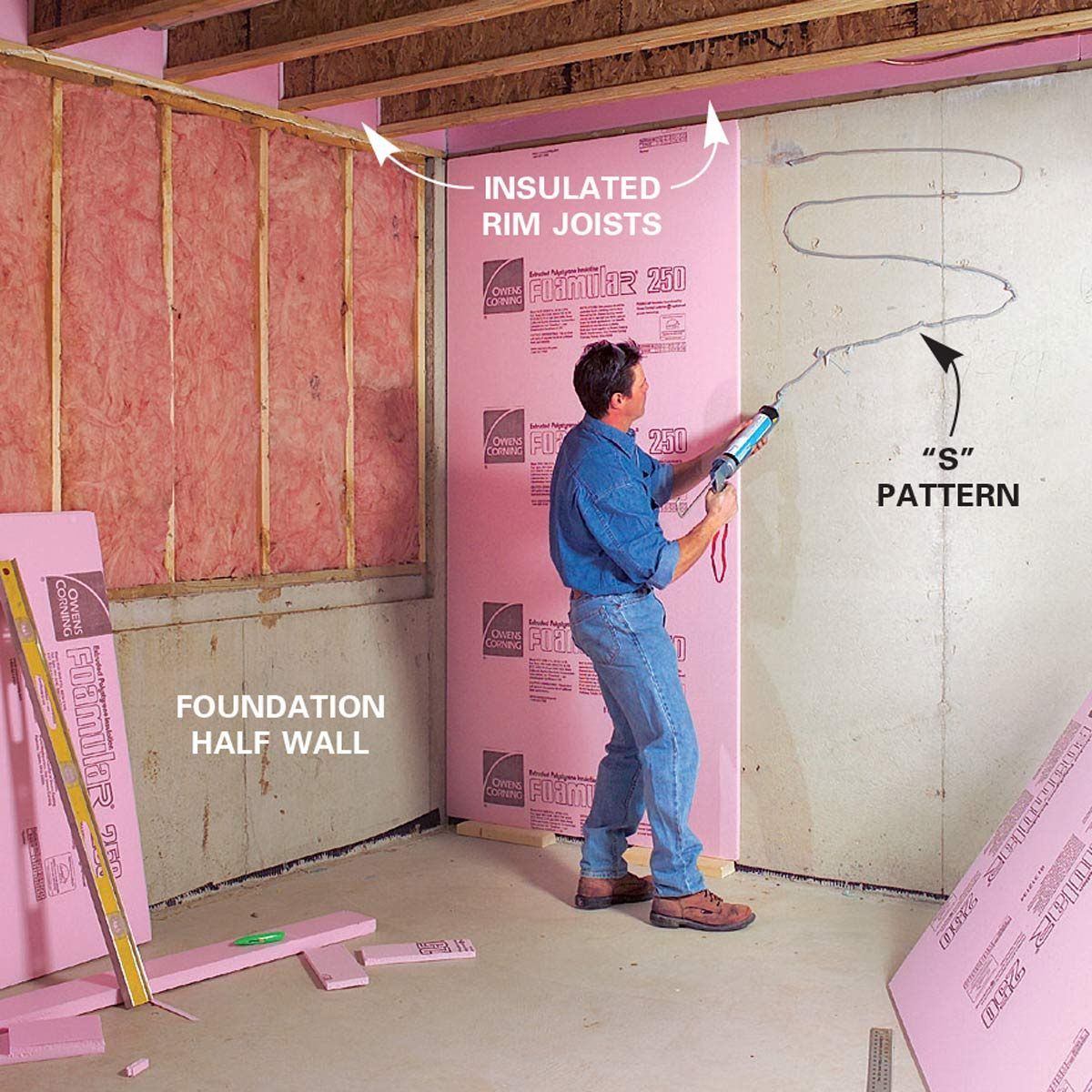 How to finish a basement framing and insulating the family handyman for Framing interior basement walls