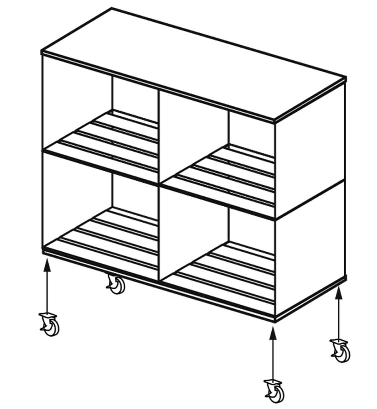 crates bookcase adding wheels