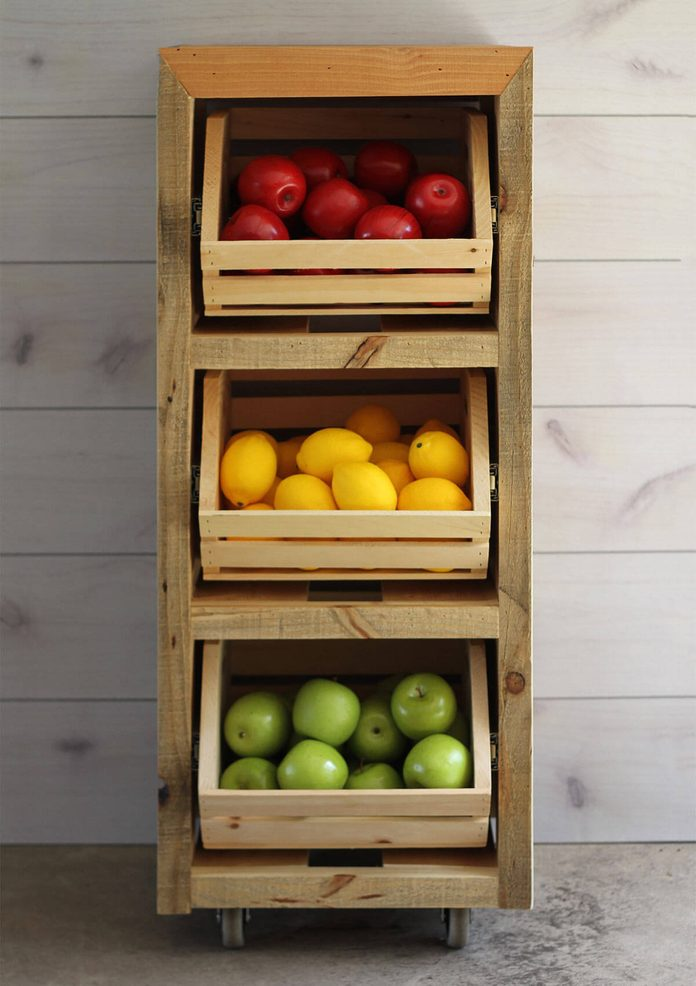 simple produce storage by crates & pallet
