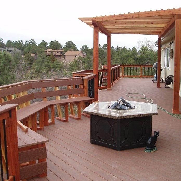 Deck with a Fire Table Pit