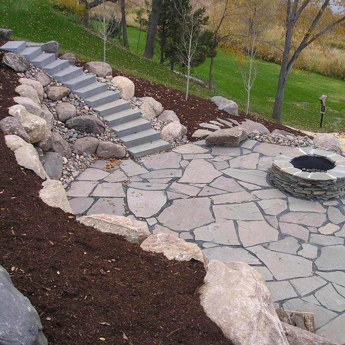 Patio with Retaining Wall backyard patio ideas