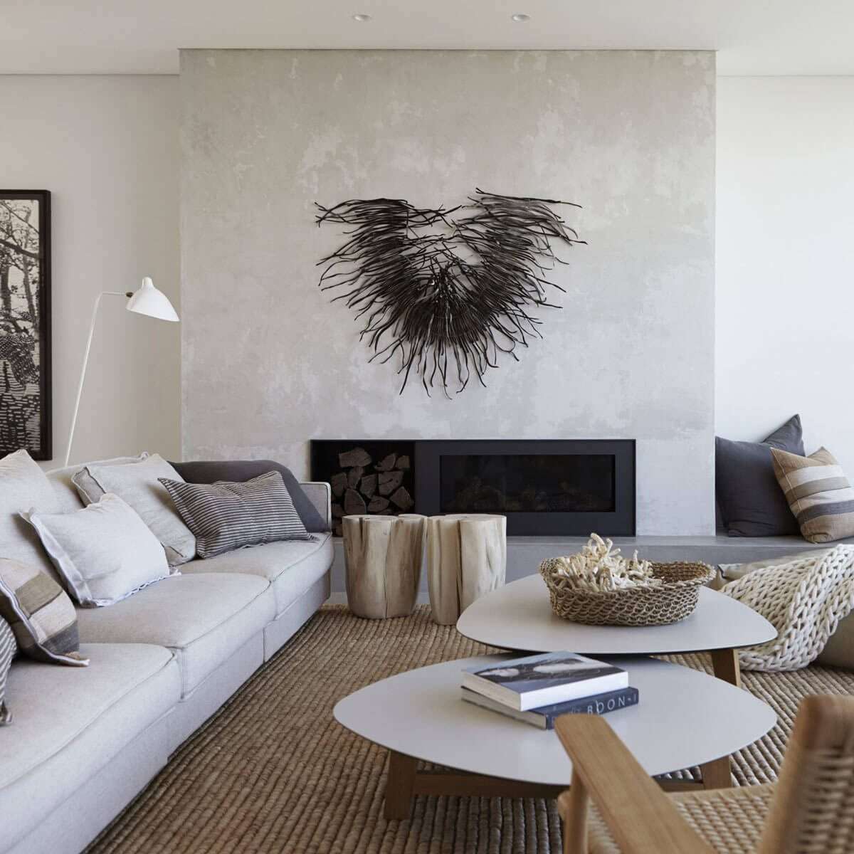 living room texture white transitional