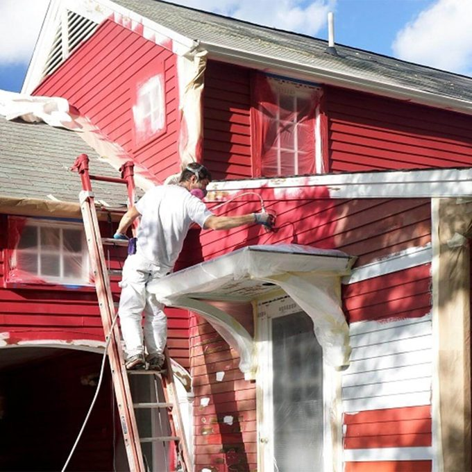 painting red house