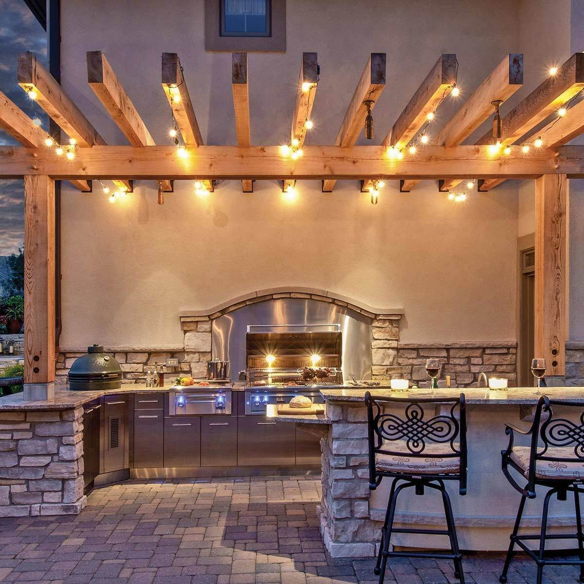 Patio Kitchen With Pergola
