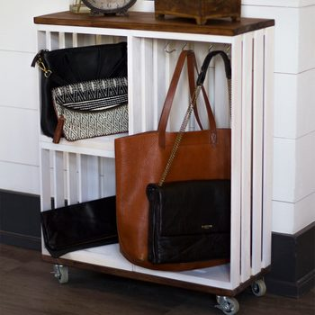 finished crate cart for entryway
