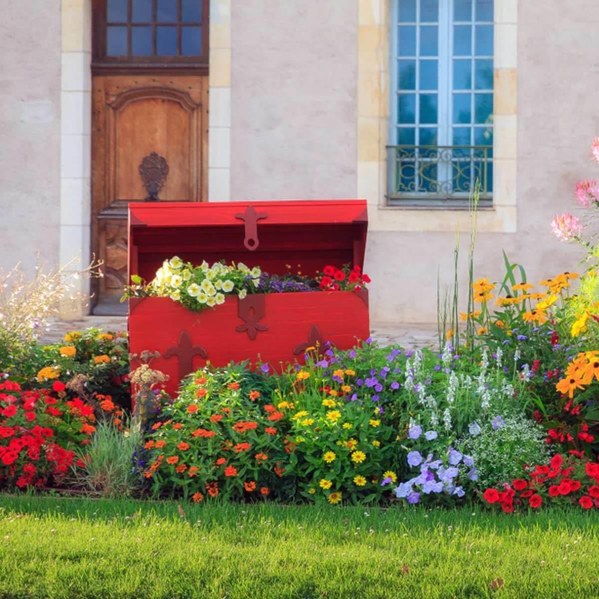 flower bed garden red chest